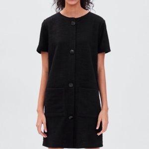 Zara black tweed dress button up size small